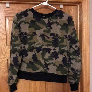 Poof fuzzy camo sweatshirt